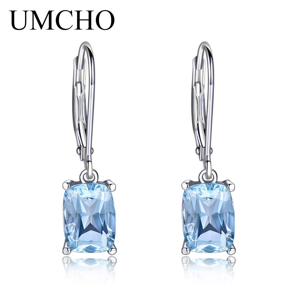 UMCHO 3.65CT Natural Sky Blue Topaz Gemstone Earrings 925 Sterling Silver Aquamarine Drop Earrings Fine Jewelry Fashion 2018