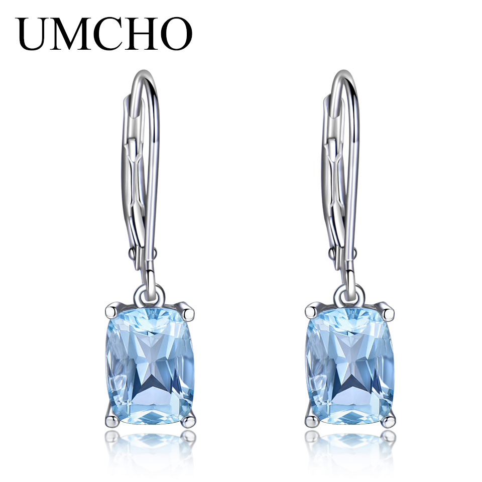 UMCHO Sky Blue Topaz Gemstone Earrings For Women Pure 925 Sterling Silver Aquamarine Drop Earrings Fashion Christmas Jewelry