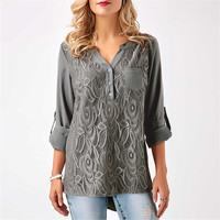 2018 New Autumn Winter Fashion Embroidery Lace Chiffon Blouse Shirt Women Top Sexy Casual Long Sleeve