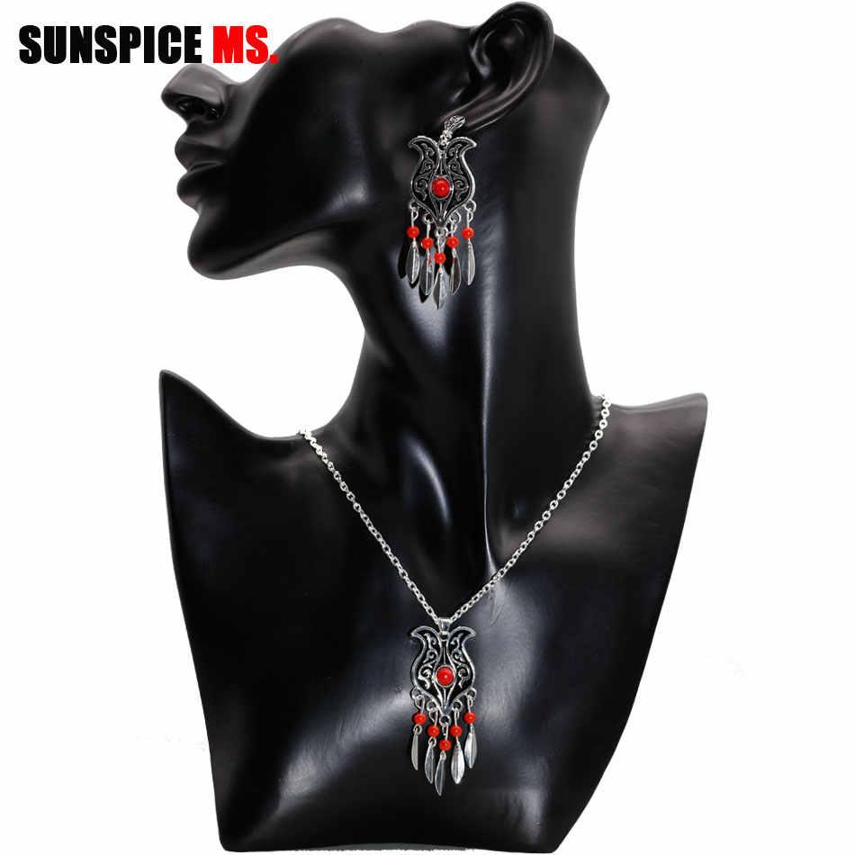 SUNSPICE MS 3Pcs שחור כלה חתונת תכשיטי סטי כסף צבע בוהמיה פאייטים עגיל שרשרת טבעת נשים דובאי אתני Bijoux