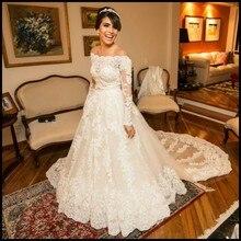 Vintage Off the Shoulder A-Line Wedding Gowns Lace Long Sleeve Muslim Wedding Dress 2016 Vestido De Noiva Custom Made Appliques