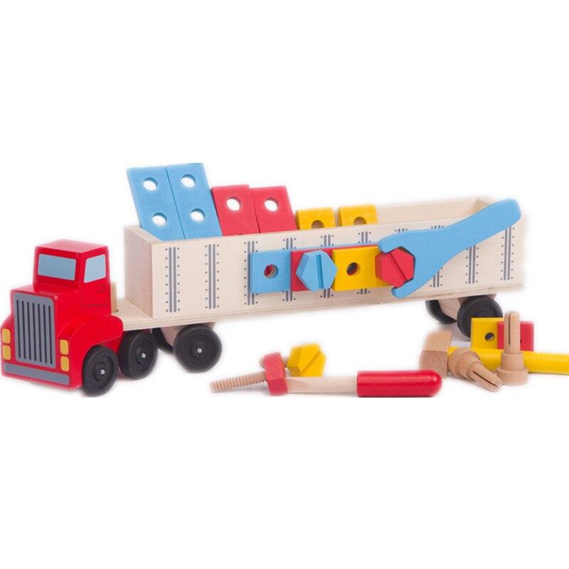 Baby Educational Toys Multifunction Tool Car Wooden Toys Nut Combination Disassembling Big Trucks Infant Training Gift sara gillingham busy baby trucks
