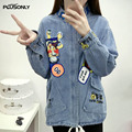 Oversize Jackets Women 2017 New Character Pattern Stand Collar Plus Size Female Casual Denim Jacket Blue Outerwear JRSJ45