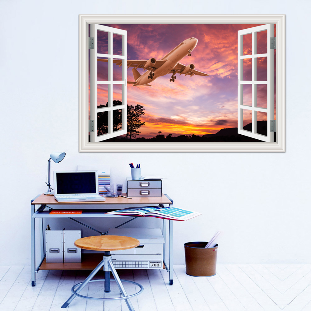 3d Landscape Wallpaper Window View Sky Airplane Wall Stickers Removable Mural Decals PVC Home Decor Living Room image