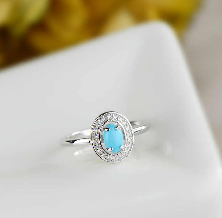 8cd70574967abf ... L&P Fashion Turquoise Stone Ring For Lady Genuine 925 Sterling Silver  Inlay AAA Zircon Wedding Fine ...