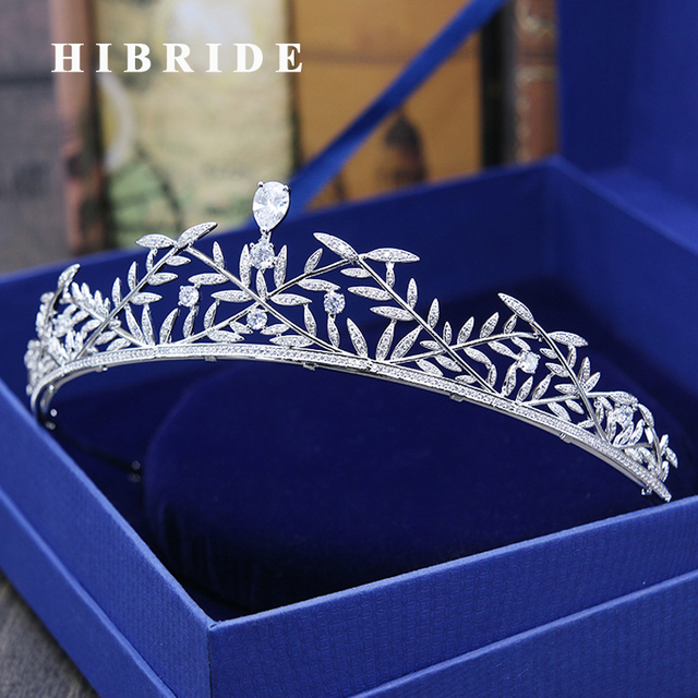 Hibride Aaa Cubic Zircoia White Gold Color Leaf Women Bride Tiaras Crown Elegant Engagement Gifts Hair