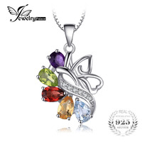 JewelryPalace Farfalla 2.4ct Ametiste Granato Peridot Citrines Blu Topazs Pendant 925 Sterling Silver Jewelry Regalo Per Le Donne