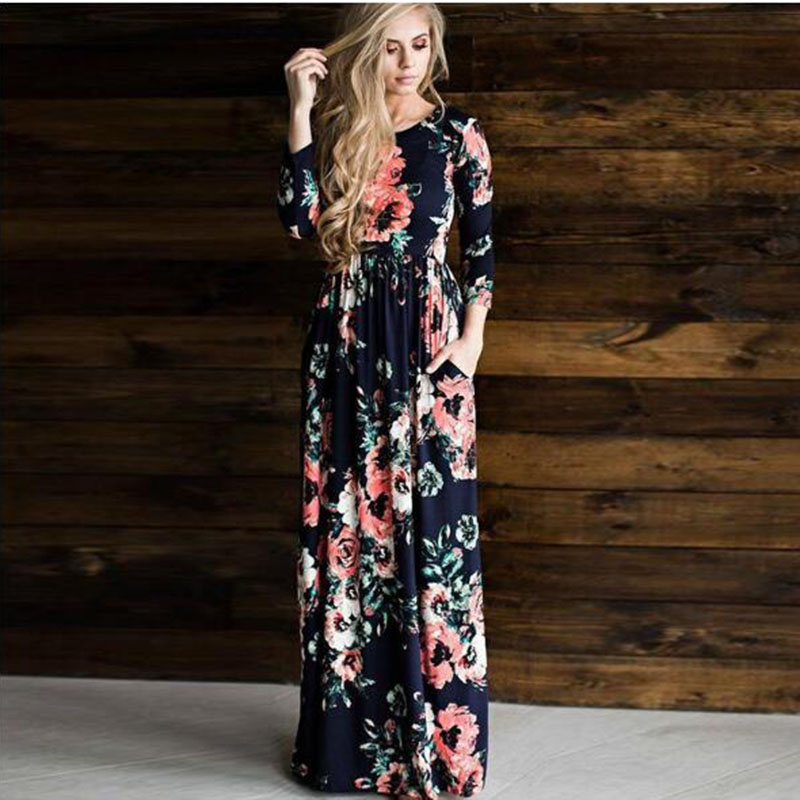 2019 hot sales women o-neck long sleeve long summer casual dress plus size vintage maxi dress with pockets