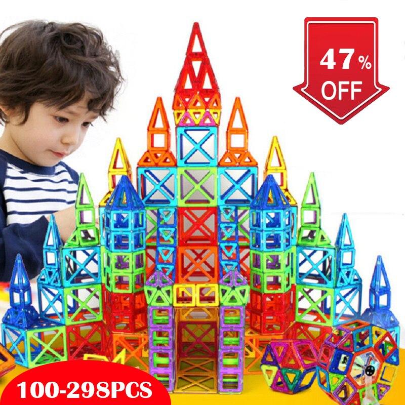Mini Magnetic Designer Blocks Construction & Building Toy Magnetic Blocks Plastic Magnet Game Educational Toys For Children Gift