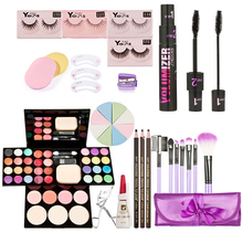 Full Makeup Sets Kit Face Make Up Eyeshadow Foundation Blusher Powder Palette with Cosmetic Brushes False Eyelash + Curler K5BO