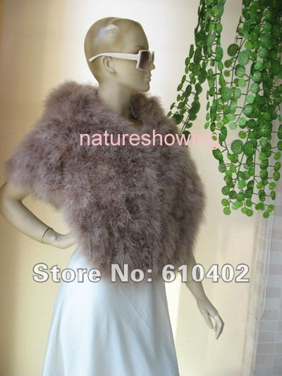 free shipping/Genuine Real ostrich feather fur Scarf cape  /brown
