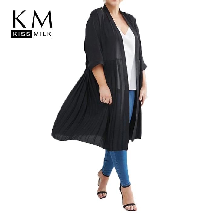 Kissmilk Plus Size Women Clothing Casual Solid Elegant Black Open Stitch Ruffle Fold Three Quarter Sleeve Thin Coat