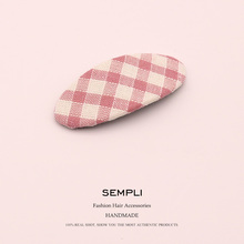 Sempli Cotton Plaid Sweet Hair Clip for Women Pins Bobby Pin Girls Bob Styling Accessories