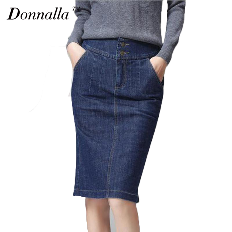Women Denim Skirt Knee length OL Pencil Denim Skirts Womens Blue Classical Bodycon Skirts High Quality