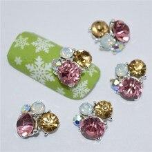 10Pcs new Purple yellow glitter rhinestones, 3D Metal Alloy Nail Art Decoration/Charms/Studs,Nails 3d Jewelry #112