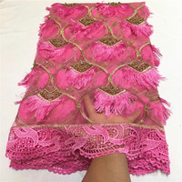 2020 Most Popular African Cord Lace Fabric High Quality Fushia Pink French Embroidery Lace Fabric With Beads For Wedding QZ4 3