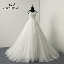 Koreaanse Cap Mouw Sweetheart Wit Ivoor Tule Trouwjurken 2020 Hof Train Lace Bloem Bridal Huwelijk Custom Made Toga