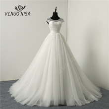 Korean Cap Sleeve Sweetheart White Ivory Tulle Wedding Dresses 2020 Court Train Lace Flower Bridal Marriage Custom Made Gowns