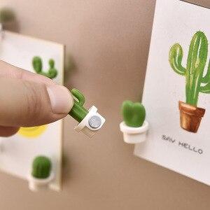 Image 2 - 6 adet/takım sevimli kaktüs etli bitki buzdolabı mıknatısı düğmesi buzdolabı mesaj Sticker çocuk hediye buzdolabı aksesuarları