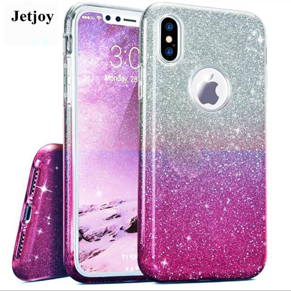 JETJOY Sparkle Bling Gradient Slim Fit Glossy Hard For Apple iPhone ten 10 X Cases Cover Back Clear Girls Shining Durable Shell