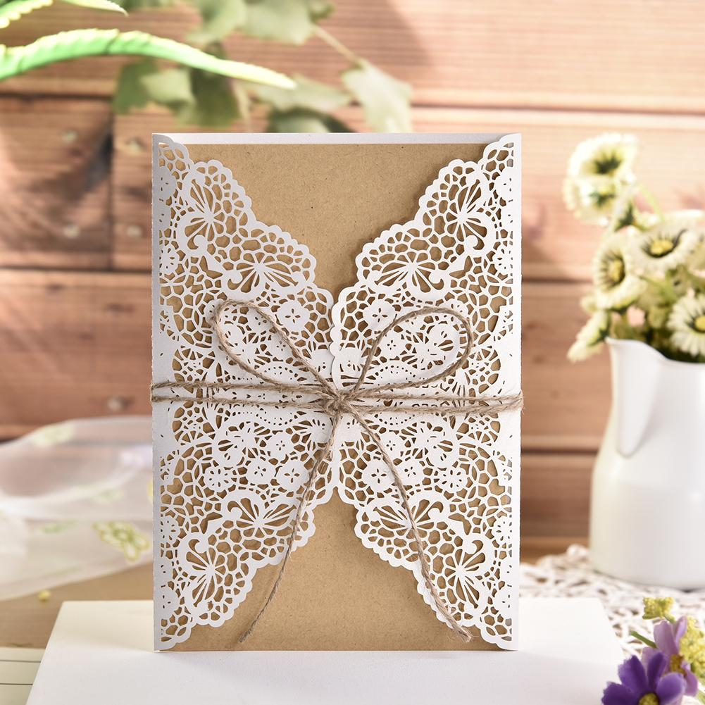 Us 4 28 32 Off 10pcs Gold White Laser Cut Luxury Floral Wedding Invitations Card Elegant Lace Favor Envelopes Vintage Wedding Party Decoration In