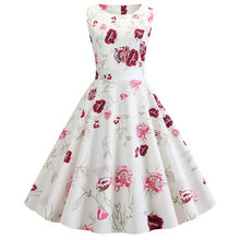 Casual White Floral Print Elegant Summer Dress 2019 Women Retro Vintage 50s 60s Party Robe Femme Rockabilly Dresses Vestidos(China)