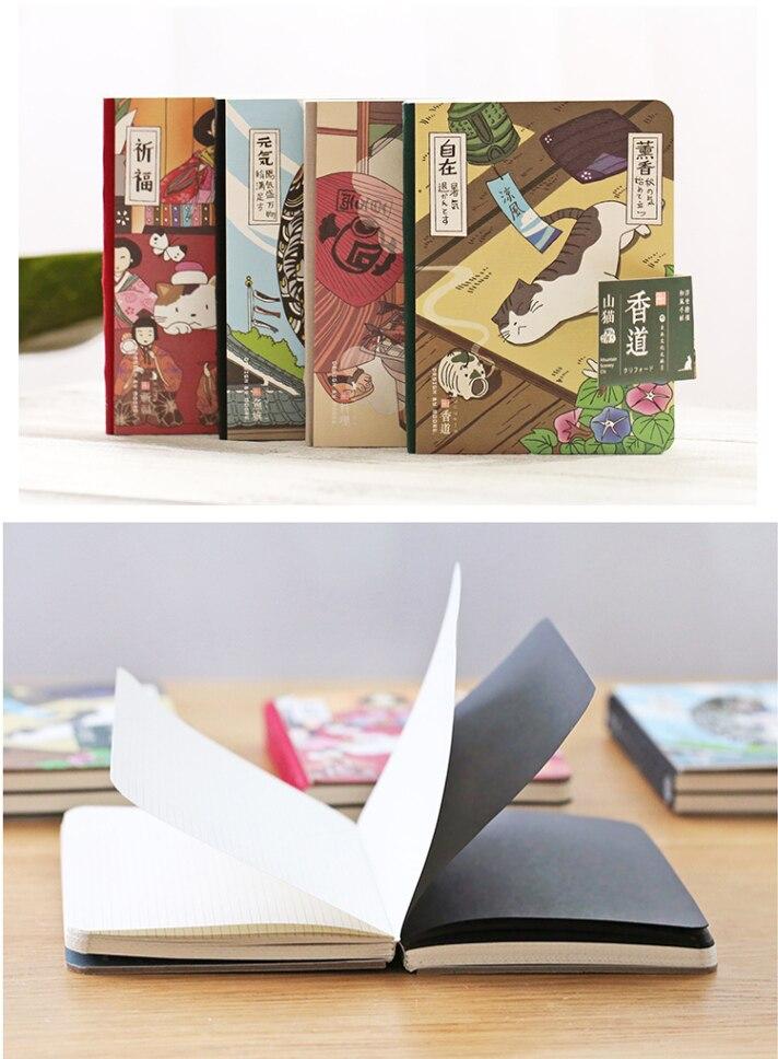 "Купить с кэшбэком ""Japanese Cat ver.2"" Cute Monthly Planner Agenda Study Notebook Pocket Diary Freenote Travel Journal Stationery Gift"