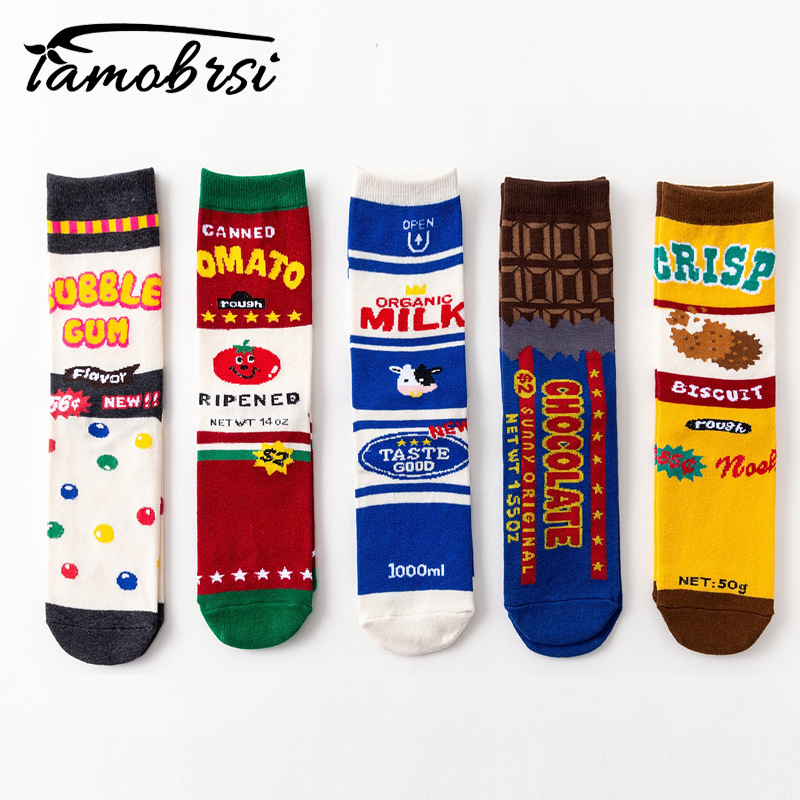 2018 Milk Chocolate Japanese Trend Biscuits Tomato Food Short   Socks   Women Female Men Personality Long Cotton Funny Tube   Socks