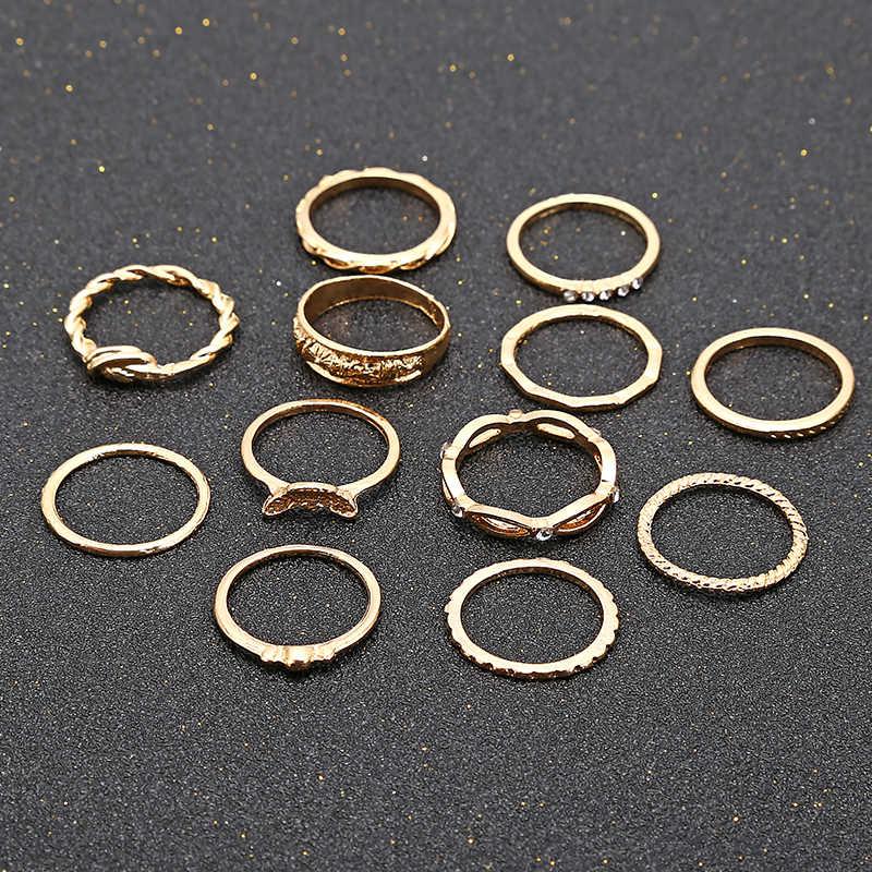 XIYANIKE 12 teil/satz Charme Gold Farbe Midi-Finger-Ring Set für Frauen Vintage Boho Knuckle Party Ringe Punk Schmuck Geschenk r168