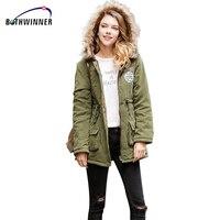 Bothwinner Warm Women Parka 3XL Winter Jacket For Women's Army Green Fur Hooded Coat Parkas Outwear Long Winter Down Jacket