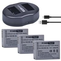 3Pcs NB-10L NB10L NB 10L 1300mAh Camera Bateria + Carregador Duplo USB para Canon G1X G15 G16 SX40HS SX50HS SX60HS SX40 SX50 SX60