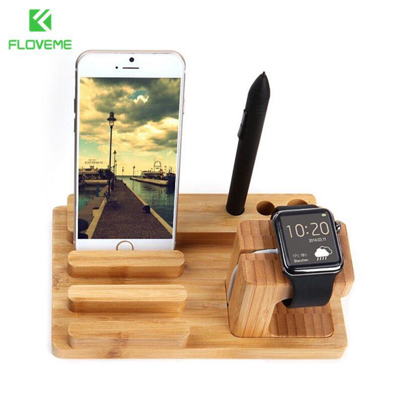imágenes para Floveme lujo natural madera muelle de carga del soporte del sostenedor del teléfono para apple iphone 6 6 s plus 5S 5c 5 sí 4S para iwatch ipad soporte