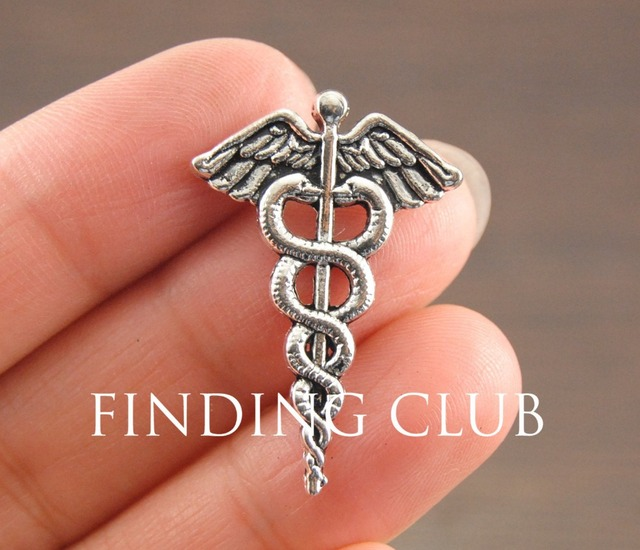 20 Pcs Antique Silver Caduceus Medical Symbol Mercurial Staff With