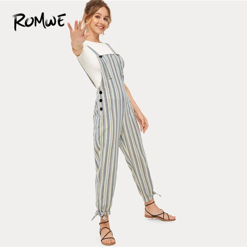 ROMWE Multicolor Striped Knot Hem   Jumpsuit   Women Summer 2019 Sleeveless Straps High Waist Button Casual Preppy   Jumpsuits