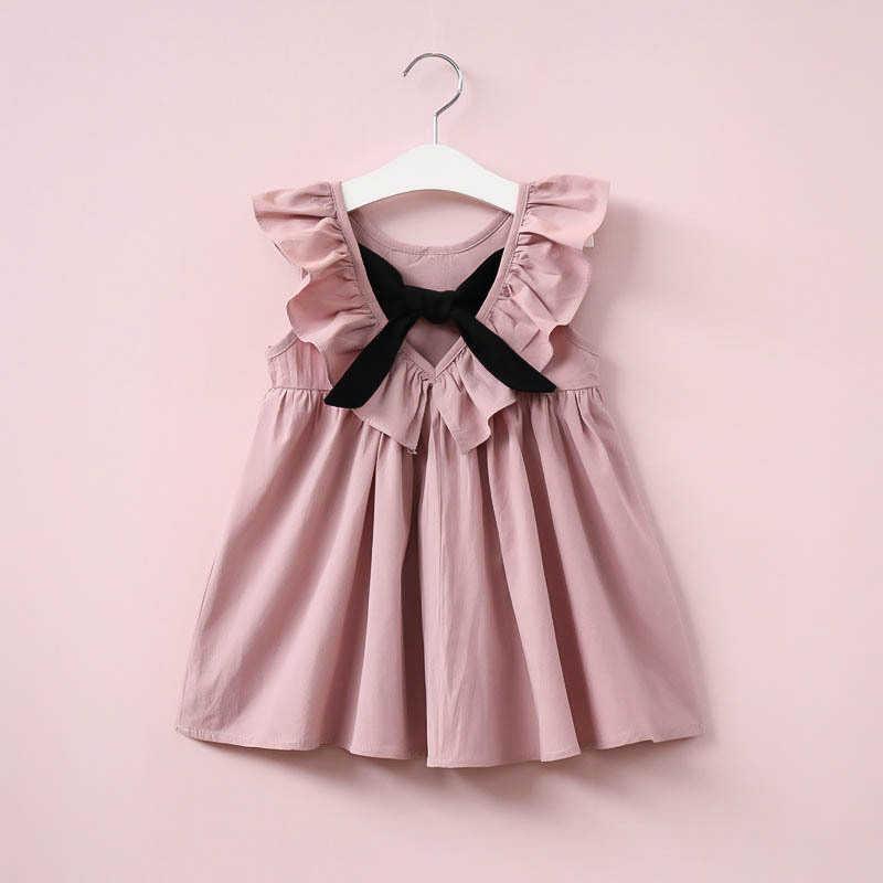 b237d8589 Verano bebé niñas vestido nuevo 2019 estilo Casual moda Fly Sleeve niñas  arco vestido bebé niña