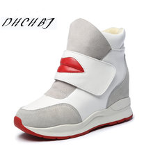 Fashion Women genuine leather Shoes Winter Platform Wedge Ankle Boots Height Increasing Shoes Keep Warm Fur Snow Boots 35-40(China)