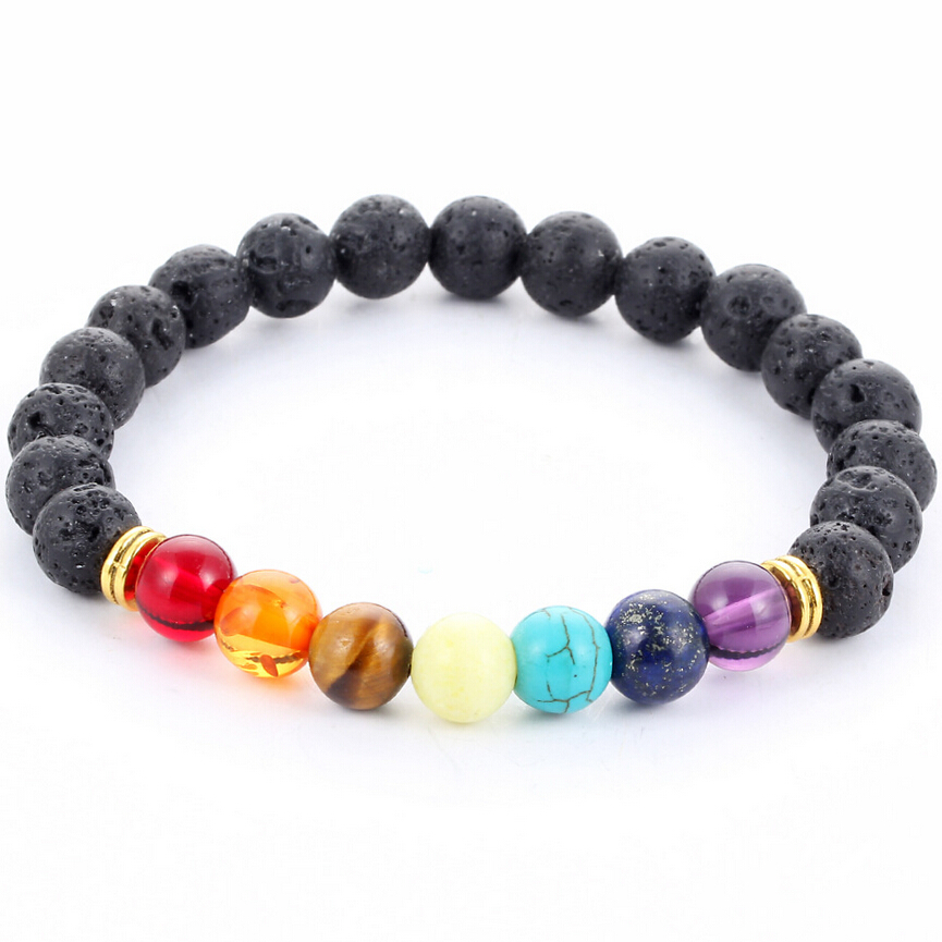 Muti-colour Men Bracelets Black Lava 7 Chakra Healing Balance Beads Білезік Әйелдер үшін Reiki Prayer Yoga Bracelet Stones
