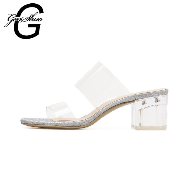 GENSHUO Women Peep Toe Sandals Ladies PVC Thick High Heels Shoes Woman Sandals Crystal Clear Transparent Shoes
