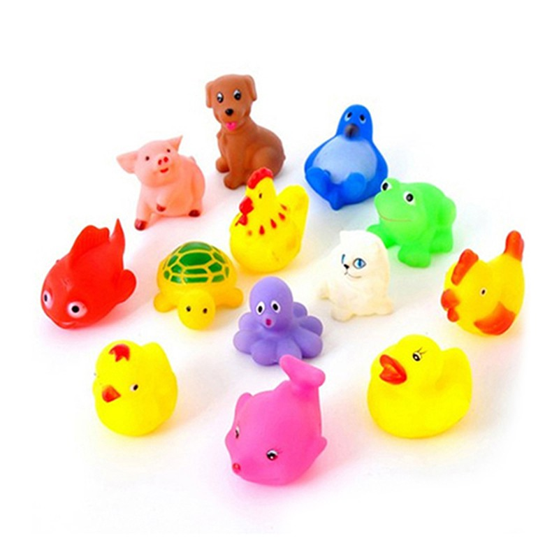 New Arrival Cute Lovely Mixed Colorful Can Float On Water And Sound Funny Bath Toys 13