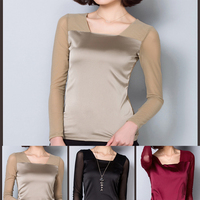 Women Office Tee Shirts Sleeveless Formal Chiffon Blouses Office Lace T Shirt 4 Color Silk Tops