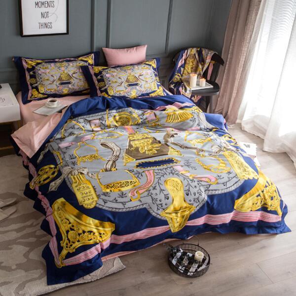 High end algodão luxo real europa itália design barroco impresso ouro marca cavaleiro rei queen size 3D villa cama de casamento conjuntos