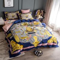 High end cotton luxury royal europe italy baroque design printed knight king queen size 3D brand gold villa wedding bedding sets