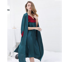 Two Sets Of Lace Ice Silk Spring And Autumn Suit 2018 New Sexy Pajamas Women Nightdress