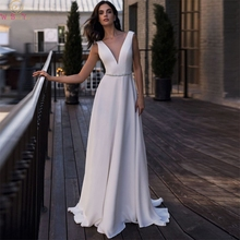 White Ivory Sexy Deep V Neck Wedding Dresses 2019 Stain A Line Long Bridal Gowns Backless Robe De Mariage Wedding Party Dress