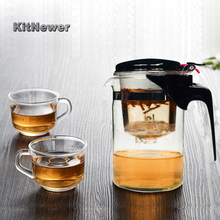 Glass Kungfu Teaset Press AUTO OPEN Art tea Cup Teapot with Infuser