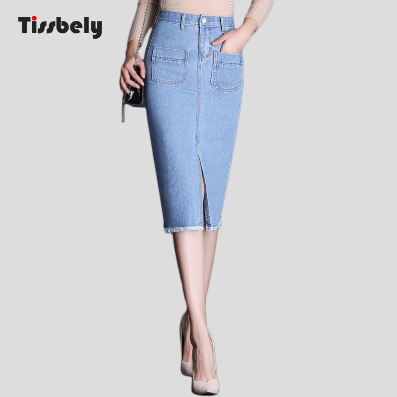 Tissbely Womens Pencil Skirt Denim Long Jeans Skirt Office Lady High Waist Jean Skirts Knee Length