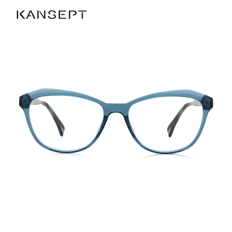 KANSEPT Acetate 2019 Fashion Transparent Eyeglasses Frame Clear Square Blue Prescription Spectacle Frame For Women#LS8046