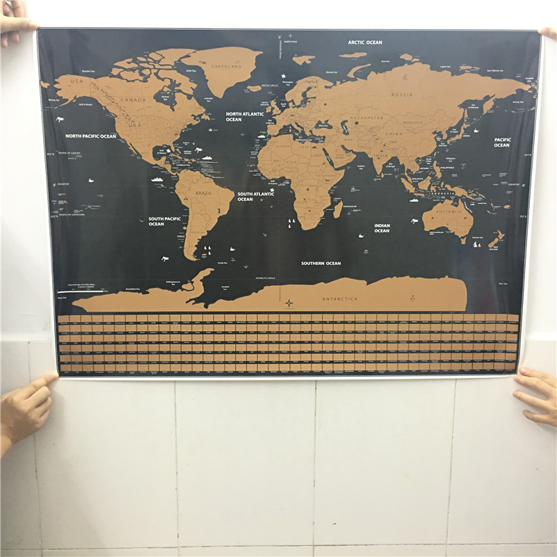 Drop shipping deluxe blow map personalized world map mini foil layer drop shipping deluxe blow map personalized world map mini foil layer coating poster wall sticker poster for living room travel in wall stickers from home gumiabroncs Choice Image
