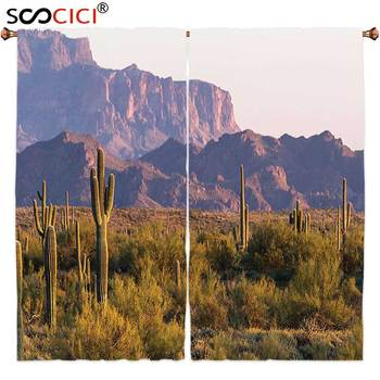 Window Curtains Treatments 2 Panels,Saguaro Cactus Decor Ariozona Desert Landscape with Cactus and Mountain in Spring Evening