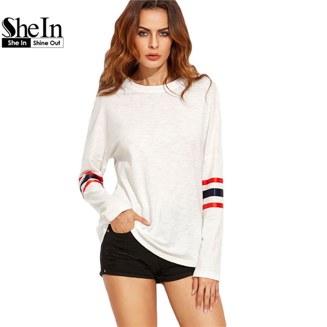 SheIn camisetas Casuales Para Mujeres de Algodón Superior 2016 Otoño Blanco Caída Del Hombro de Cuello Redondo A Rayas de Manga Larga T-shirt